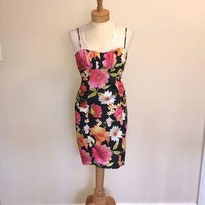 David Meister floral shift dress size 2